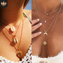VKME New Choker multi-layer necklace necklace and pendant necklace women's simple gold 2019 Bijoux ladies fashion jewelry gifts(China)