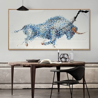 Arthyx Modern Pop Art Handpainted Strong Bull Oil Painting On Canvas Abstract Animal Paintings For Living Room Office Decoration