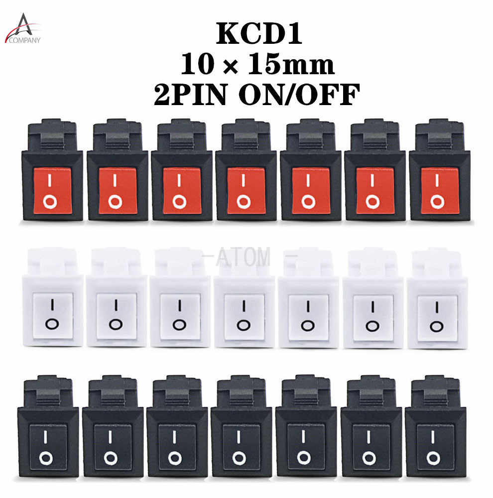 5 Pcs KCD11-101 3A/250V Kecil Hitam 10*15 Mm SPST 2PIN On/Off G130 Perahu rocker Switch Mobil Dash Dashboard Truk RV ATV Rumah