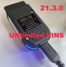 Hex v2 VAG COM 21.3 VAGCOM 20.12 HEX V2อินเทอร์เฟซ USB สำหรับ VW AUDI Skoda Seat ไม่จำกัด VINs/ภาษาอังกฤษ