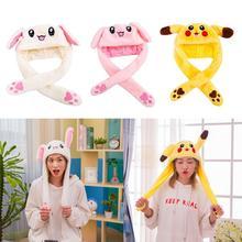 Милая светящаяся плюшевая шапка с кроликом забавная игрушка вверх вниз движущиеся уши кролика подушка безопасности игрушка шляпа девушка подарки для детей