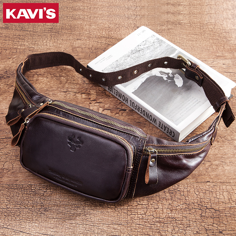 KAVIS Hot 100% Cowhide Genuine Leather Waist Bag Men Male Packs Belt Loops Chest Bag Mobile Phone Holder Pouch Male Purse