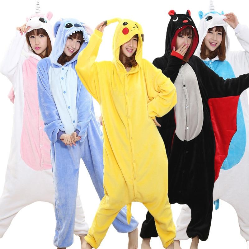 Pikachu Kigurumi For Kids Adult Onesie Women Pajamas Animal Cosplay One Piece Sleepwear Child Boy Girl Jumpsuit Stich Unicorn