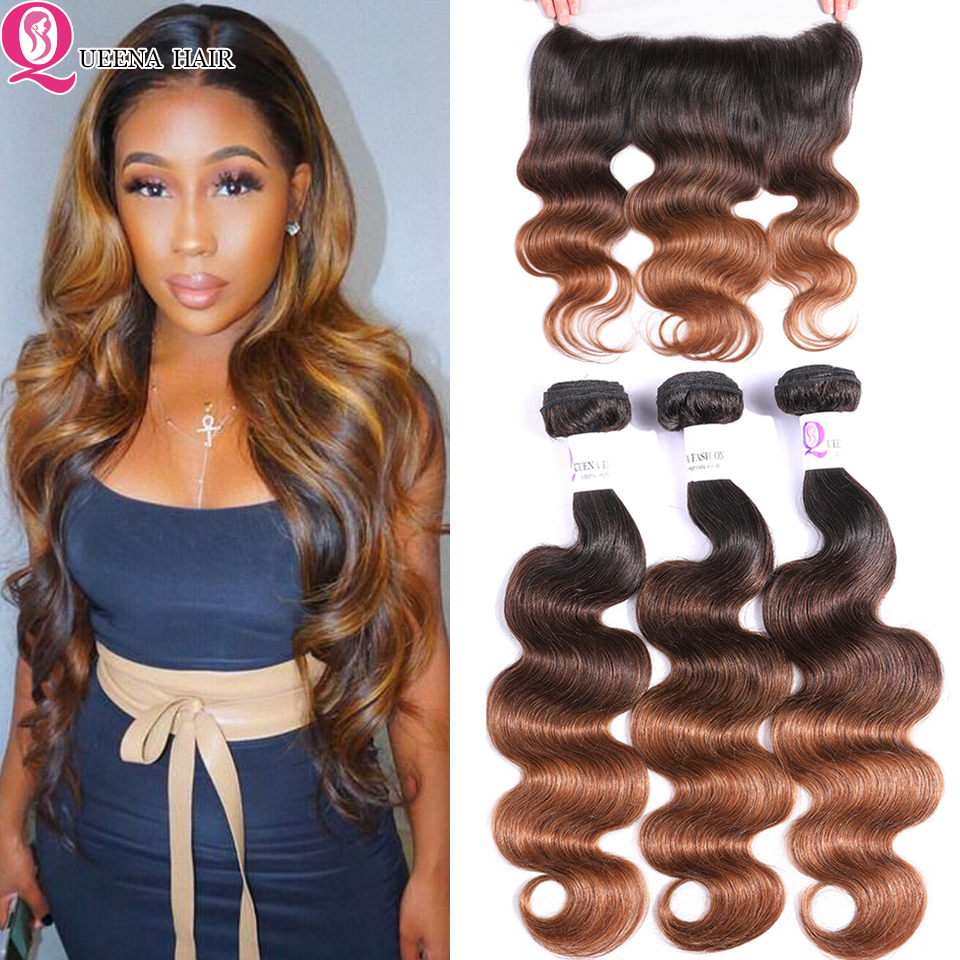 1B/4/30 Ombre Human Hair Bundles With Frontal Closure Remy Peruvian Body Wave 3 Bundle Colored Bundles With Frontal Pre Plucked