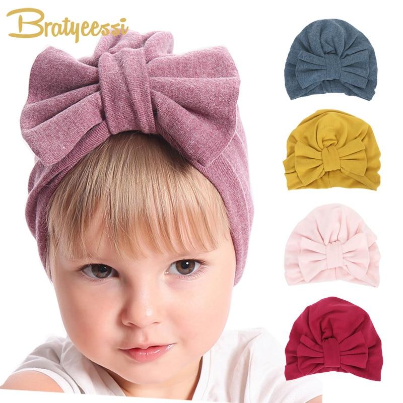 Новая зимняя детская шапка для девочек, Осенний тюрбан с большим бантом, детская шапка, реквизит для фотографирования, аксессуары для детск...