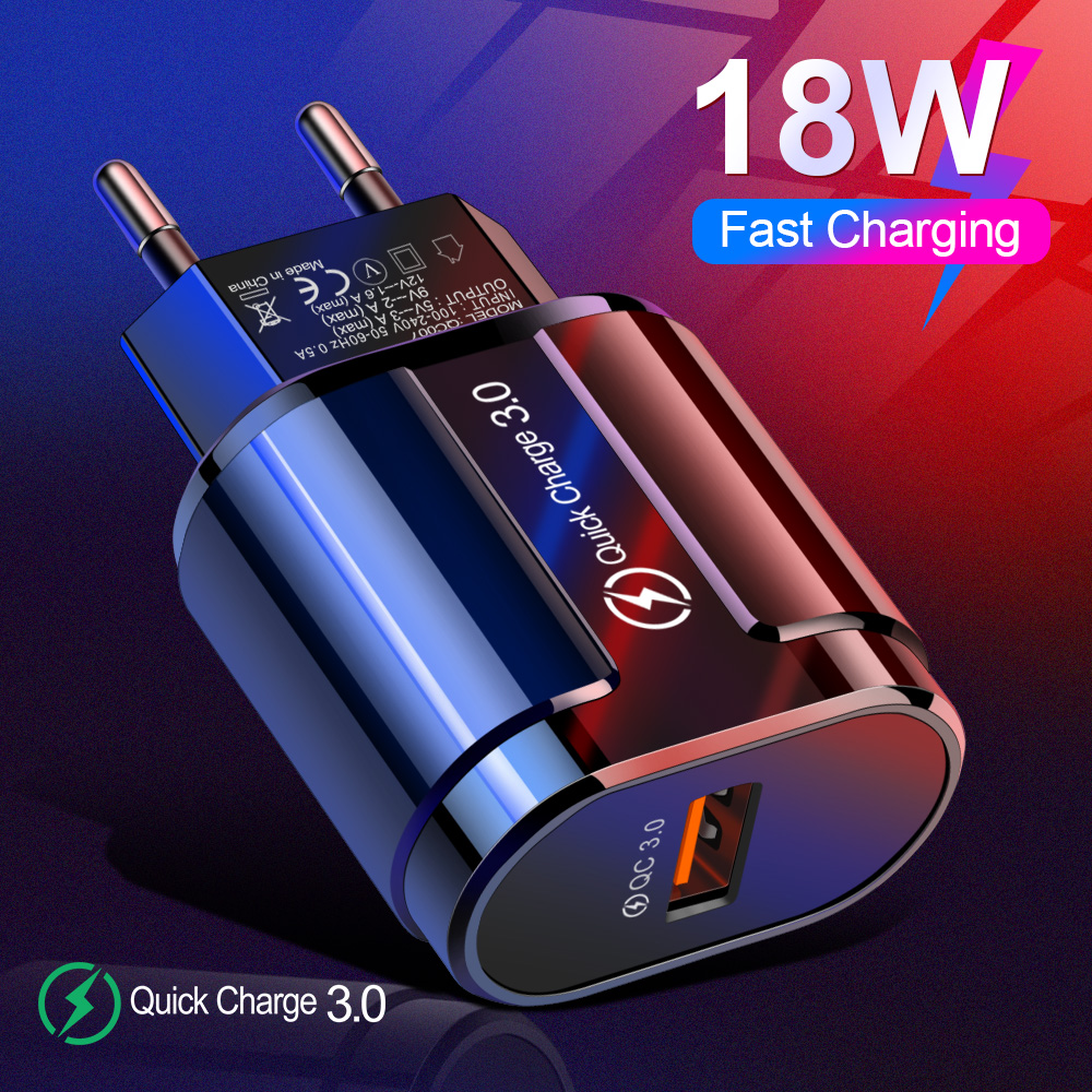 Быстрая зарядка 3,0 18 Вт QC 3,0 4,0 быстрое зарядное устройство USB портативное зарядное устройство для мобильного телефона iPhone 7 8 Plus X XR XS Max samsung