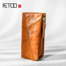 AETOO Copper buckle leather key bag, mens zipper car key bag, psoriasis multi functional waist padkey key bag woman
