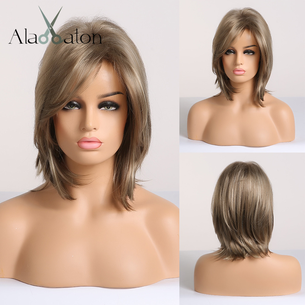 ALAN EATON Synthetic Hair Lady Short Wavy Wigs For Women Mix Brown Blonde Ash Wigs With Side Bangs High Temperature Fiber