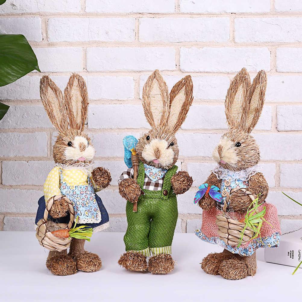 1# ZZALLL Simpatico Coniglio di Paglia Decorazioni pasquali Casa per Le Vacanze Giardino Ornamento per Matrimoni