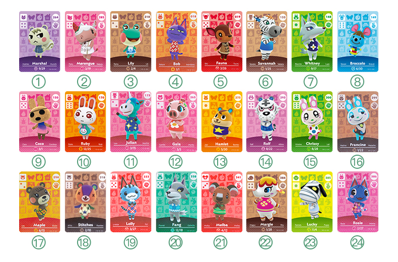 24pcs Animal Crossing Cards Amiibo Card Work For Switch 3DS NS Games Invite Animal Cards Amiibo Card