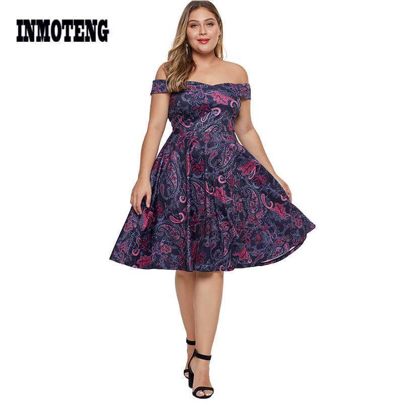 INMOTENG Sexy fuera del hombro Floral impreso más tamaño 5XL 4XL vestido de mujer de verano púrpura Slash cuello una línea rodilla vestidos de Fiesta