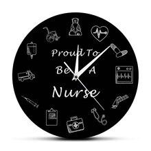 Pround być pielęgniarka zegar ścienny urządzenia medyczne opieki RN opieki zdrowotnej zegar zegarek wystrój szpitala pielęgniarka Student prezent z okazji ukończenia szkoły