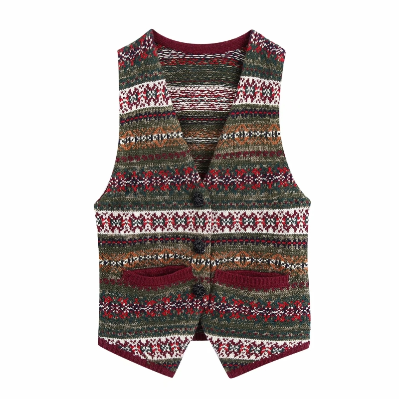 Frauen V Neck Taste Dekoration Jacquard Stricken Pullover Weibliche Ärmellose Pullover Casual Dame Lose Tops SW1051