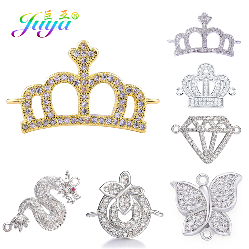 Juya DIY Bracelets Components Animal Dragon Butterfly Crown Charm Connectors For Women Fashion Jewelry Bracelet Necklace Making