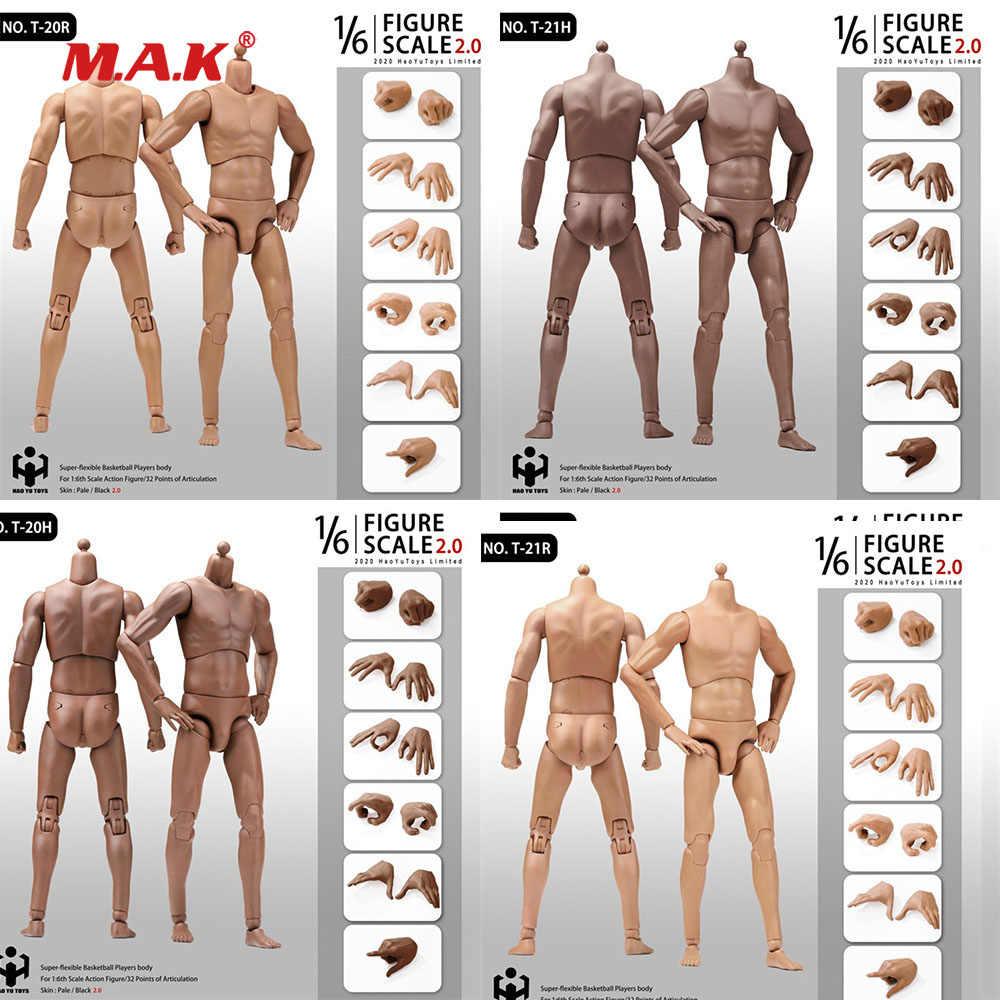 HAOYU TOYS 1:6 Scale Black Skin Male Muscle Sports Body Player Figure Model