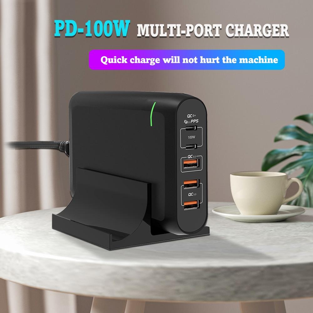 Сетевое зарядное устройство PD 100 Вт с двумя портами USB Type-C и поддержкой быстрой зарядки