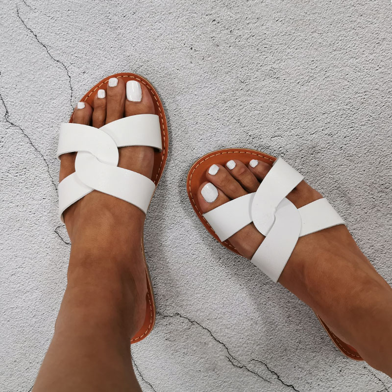 Summer Women Sandals Shoes Summer Style Fashion PU Leather Interlocking Surface Female Slippers Solid High Quality Woman Slides