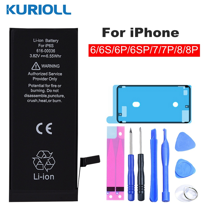 Kurioll Original Battery For IPhone 6 6G 6S 7 8 Plus Batarya Replacement  Real Capacity Mobile Phone Bateria  For IPhone Battery