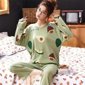 Image 1 - 女性ホームウェアグリーンアボカドパターンoネック寝間着部屋着カジュアル綿パジャマ漫画長袖パジャマ 2 ピースセット