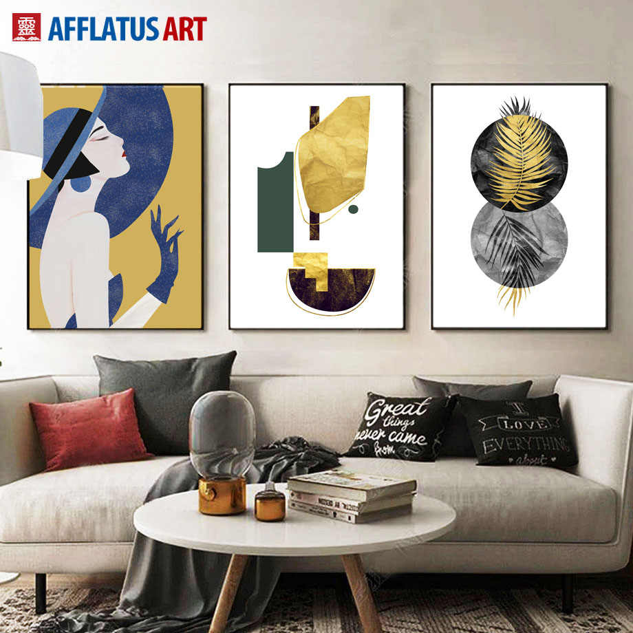 Abstract Girl Geometry Palm Leaf Quotes Wall Art Print Canvas Painting Nordic Posters And Prints Wall Pictures For Living Room