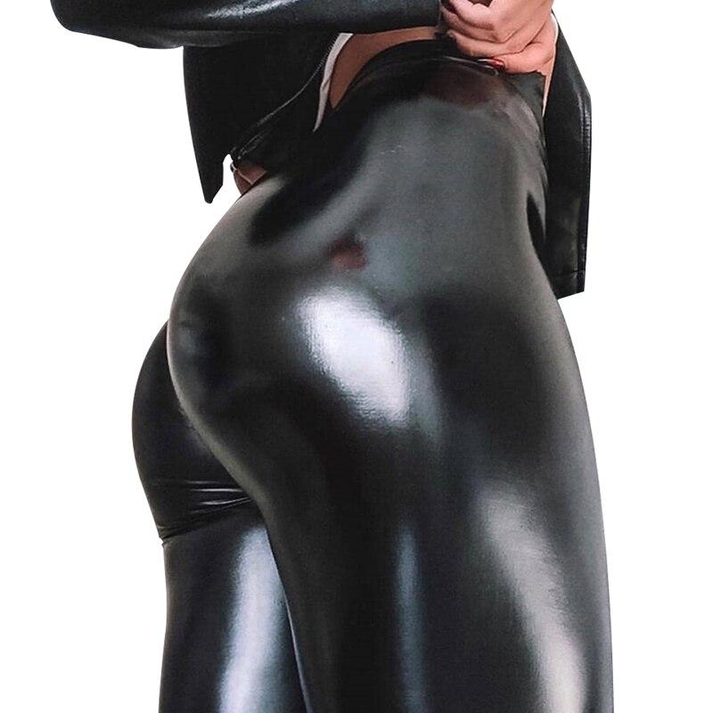 NORMOV Frauen PU Leder Leggings Hohe Taille Dünne Plus Samt Verdicken Workout Leggings Weibliche Elastische Schwarz Plus Größe Leggings