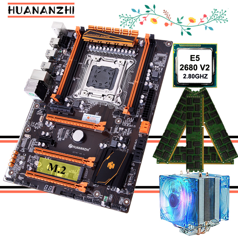 Promotional HUANANZHI Deluxe gaming X79 motherboard with M.2 slot CPU Xeon E5 <font><b>2680</b></font> V2 SR1A6 with CPU cooler RAM 16G(4*4G) RECC image