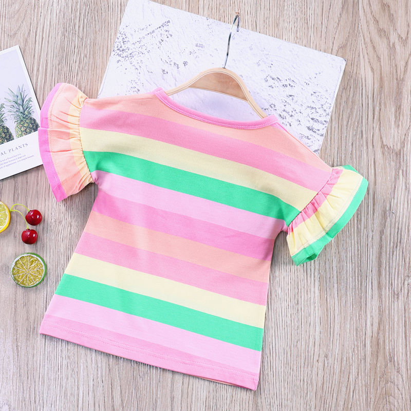 VIDMID Summer Fashion  T-shirt Children Girls Short Sleeves  Tees Baby Kids Cotton Tops For Girls Clothes   1-8Y  P1055 5