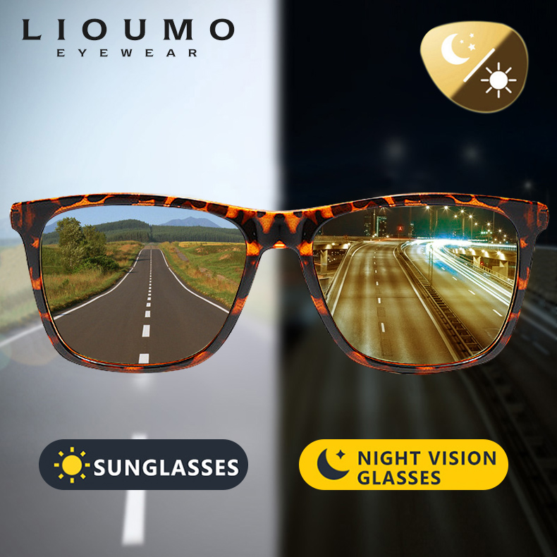 Square Brand Discoloration Sunglasses Polarized Women HD Photochromic Glasses For Day Night Vision Driving Men Sun Glasses UV400Womens Sunglasses   -