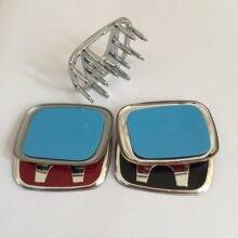 1 pçs 3d abs chrome vermelho preto h logotipo do carro volante emblema emblema roda de direção adesivo carro estilo do carro acessórios automóveis