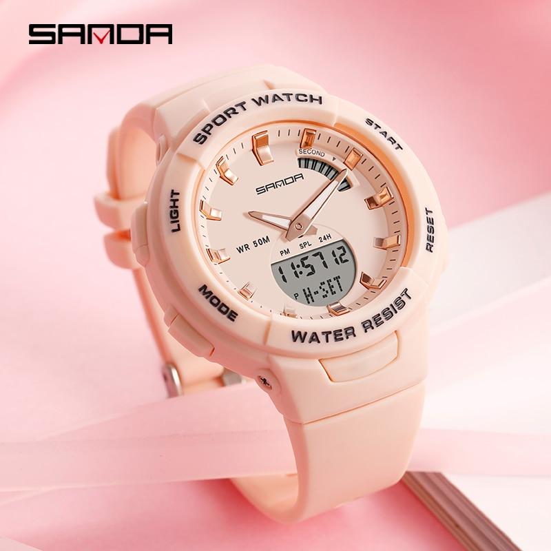 SANDA-montres pour hommes et femmes, montre de luxe, résistance, compte à rebours de Sport, étanche 50M, pour garçons et filles