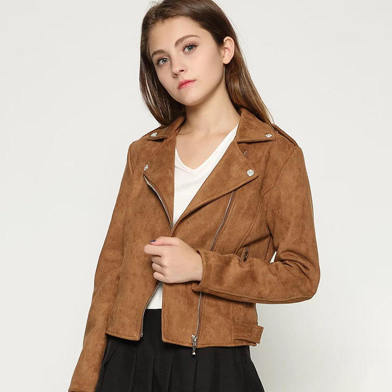 Elegant 2019 Autumn Women Faux   Suede     Leather   Biker Jackets Long Sleeve Zipper   Suede   Coat Streetwear Brown Autumn Outfit Outwear