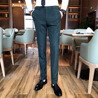 2019 Newest Men's Fashion Dark Plaid Boutique Casual Business Suit Pants Men's High end Brand Slim Casual Pants Mens Trousers