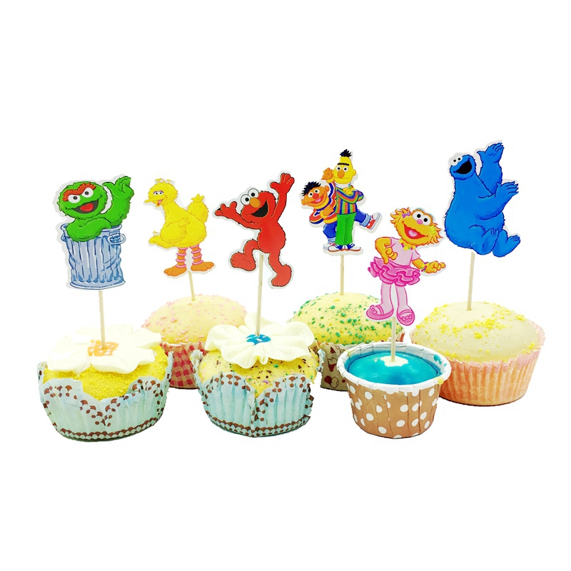 72pcs Happy Birthday Sesame Street Cake Cupcake Topper Decorations Baby Shower Kids Party Fruit Snack Picking Toothpick Sticks Cake Decorating Supplies Aliexpress
