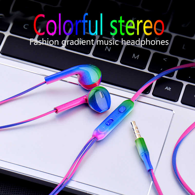 JS 3.5mm Wired In-Earphone Fashion gradient Music Earbuds Stereo Gaming Earphone With Mic For iPhone Xiaomi Huawei Sport Headset