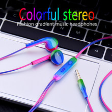 JS 3.5mm Wired In-Earphone Fashion gradient Music Earbuds Stereo Gaming Earphone With Mic For iPhone Xiaomi Huawei Sport Headset(China)