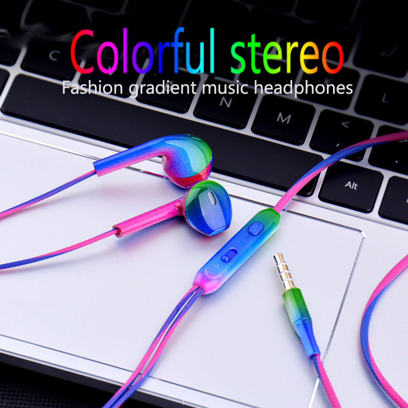 JS 3.5mm Wired In-Earphone Fashion gradient Music Earbuds Stereo Gaming Earphone With Mic For iPhone Xiaomi Huawei Sport Headset image
