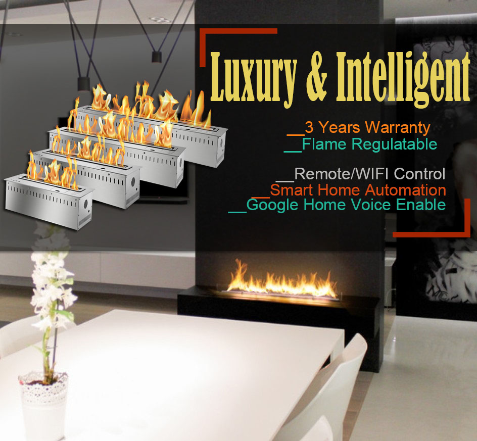 Hot Sale 36 Inches Electric Fireplace Insert 2 Sided Wifi Knx Home Automation Fireplace