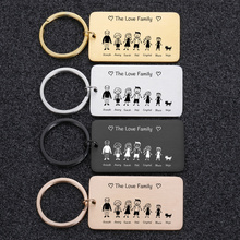 Love Cute Keychain Engraved Family Gifts for Parents Children Present Keyring Bag Charm Families Member Gift Key Chain