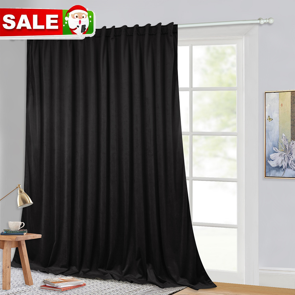 NICETOWN Luxury Velvet Curtain Long Heavyweight Velvet Drape Noise Absorbing Blackout Room Divider Curtain Panel for Livingroom