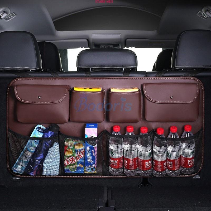 For Toyota Land Cruiser 200 FJ 100 J100 Rear Trunk Seat Back Storage Bag Luggage Nets Hook & Loop Car Organizer Accessories