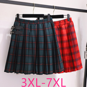 Image 1 - 2020 autumn winter plus size skirt for women large casual loose elastic waist plaid short pleated skirts green 4XL 5XL 6XL 7XL