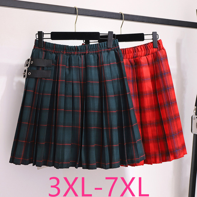 2020 autumn winter plus size skirt for women large casual loose elastic waist plaid short pleated skirts green 4XL 5XL 6XL 7XL