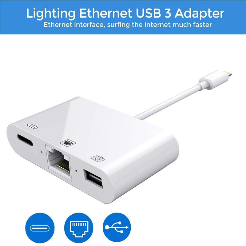 3 In 1 Lightning To RJ45 Ethernet LAN Wired Network Adapter For IPhone X/XR/XS/8/7 IPhone IPad To USB Camera Adapter Kit Hub Usb