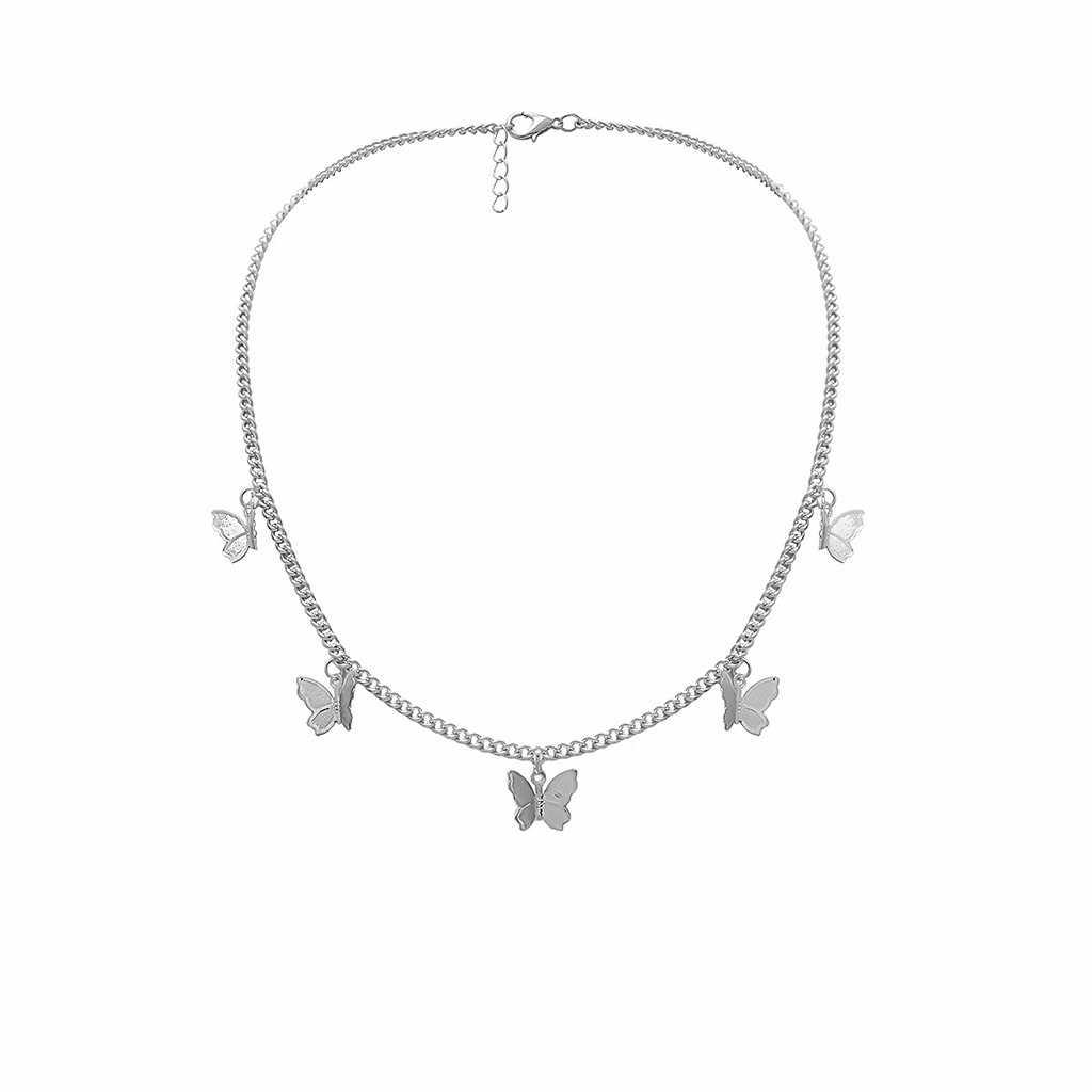 Collar de joyería para mujer, collar de cadena, Gargantilla de oro, colgante de mariposa de aleación de Metal a la moda, collar de declaración de plata, regalo