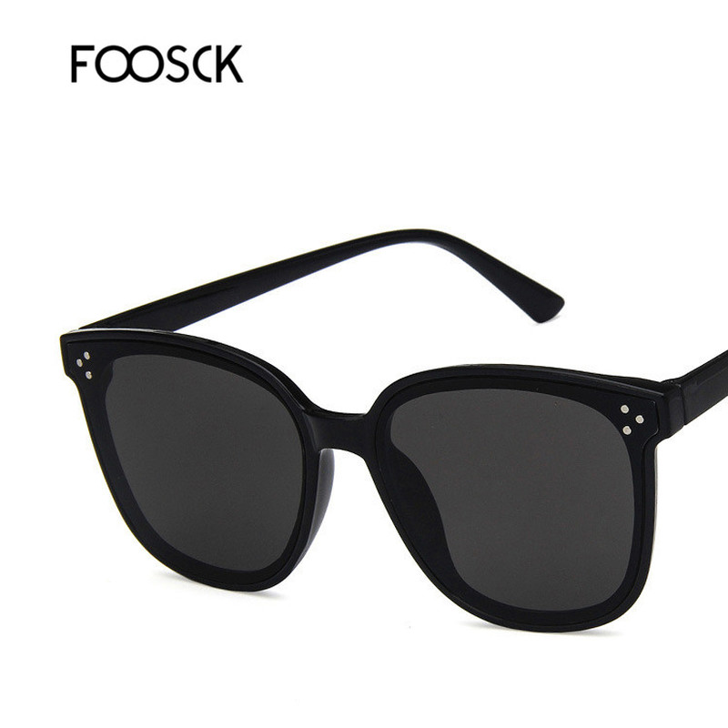 FOOSCK New Brand Designer Women Square Sunglasses Vintage Oversize Female Blue Mirrored Sun Glasses UV400