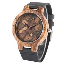 Men Broken Leaf No Number Analog Wood Quartz Watch Watches 2019 Men Quartz Wristwatches Casual Wooden Color Leather Strap Watch ybotti number analog quartz watch