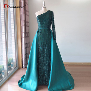 Image 5 - Elegant Evening Dress 2020 Muslim Long Sleeves Mermaid with Detachable Train Sequin One Shoulder Prom Party Gowns