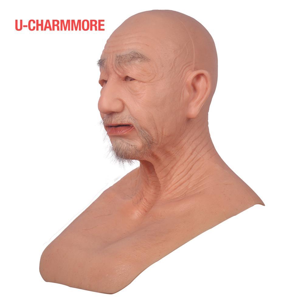 Silikon yaşlı adam maske gerçekçi yüz fetiş gerçek deri maskesi Cosplay cadılar bayramı için el yapımı kafa gerçekçi tam maske