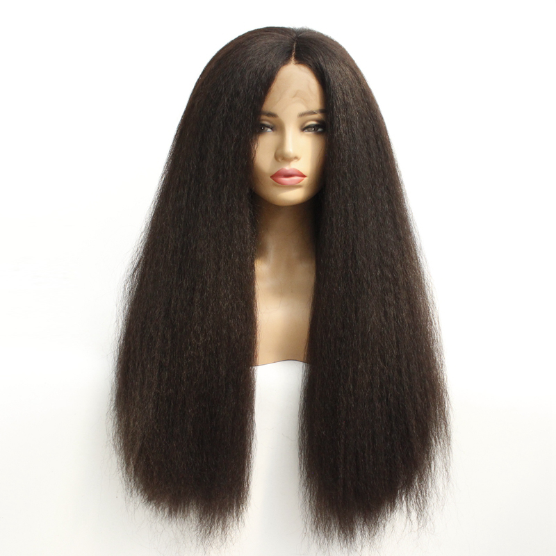 Soft 2#1B#Synthetic Wigs Italian Yaki Kinky Straight Synthetic Lace Front Wig Heat Resistant Fiber Glueless Swiss Lace Hair Wig