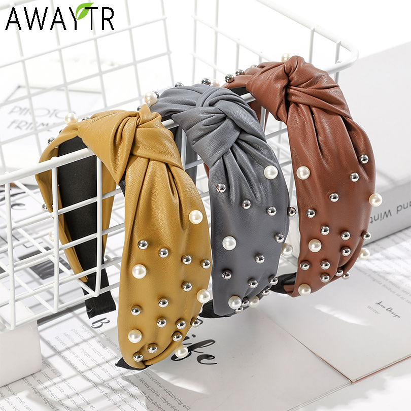 AWAYTR Fashion Leather Pearl Hairband Solid Color Bow Knot Headband Girls Hair Hoop Bands Hair Accessories For Women Headdress